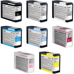 Epson UltraChrome K3 Photo Black 8-Cartridge Ink Set for Stylus Pro 3880 Printer (80 ml)