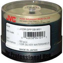 JVC 52x Recordable Inkjet Hub Printable Watershield CD-R (Silver, 50-Pack Spindle)