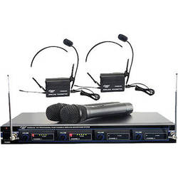 Pyle Pro PDWM4300 4-Mic VHF Wireless Rack Mount Microphone System