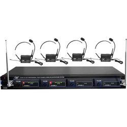 Pyle Pro PDWM4400 4-Mic VHF Wireless Rack Mount Microphone System