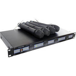 Pyle Pro PDWM5000 4-Mic VHF Wireless Rack Mount Microphone System