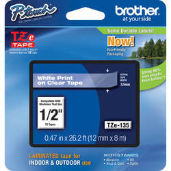 "Brother TZe135 Laminated Tape for P-Touch Labelers (White on Clear, 0.47"" x 26.2')"