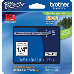 "Brother TZe111 Laminated Tape for P-Touch Labelers (Black on Clear, 0.23"" x 26.2')"