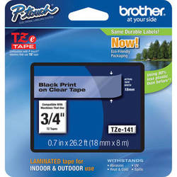 """Brother TZe141 Laminated Tape for P-Touch Labelers (Black on Clear, 0.7"""" x 26.2')"""
