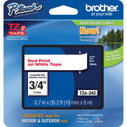 """Brother TZe242 Laminated Tape for P-Touch Labelers (Red on White, 0.7"""" x 26.2')"""