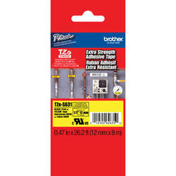 """Brother TZeS631 Tape with Extra-Strength Adhesive for P-Touch Labelers (Black on Yellow, 0.47"""" x 26.2')"""