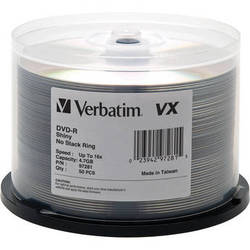 Verbatim VX Shiny Silver 4.7 GB DVD-Recordable Discs (Pack of 50)