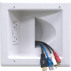 Peerless-AV Recessed Low Voltage Media Plate with Duplex Surge Suppressor