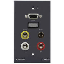 Kramer Passive Wall Plate with 15-Pin VGA HD, HDMI, 3.5mm, and AV RCA Connectors (Black)