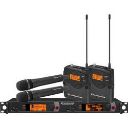 Sennheiser 2000 Series Dual Combo Wireless Microphone System (Black Handhelds)