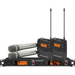 Sennheiser 2000 Series Dual Combo Wireless Microphone System (Nickel Handhelds)