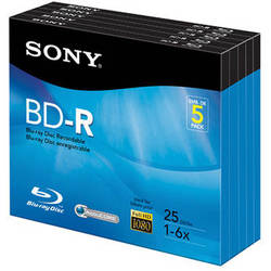 Sony BD-R Blu-Ray Recordable Disc 6x 25 GB with Slim Case (5 Pk)