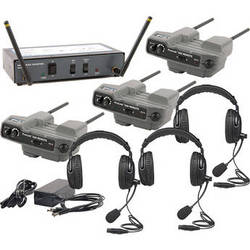 PortaCom 3-User WingMAN Intercom System Kit with Dual-Ear Headsets