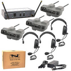PortaCom 3-User WingMAN Intercom System Kit with Single-Ear Headsets