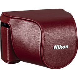 Nikon Leather Body Case Set for Nikon 1 J1 Camera with 10-30mm Lens (Red)