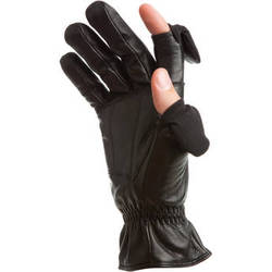 Freehands Men's Leather Gloves (Medium, Black)
