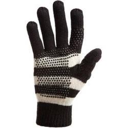 Freehands Women's Stripe Wool Knit Gloves (Black)