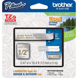 """Brother TZeMQ934 Laminated Tape for P-Touch Labelers (Gold on Satin Silver, 0.47"""" x 16.4')"""