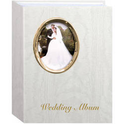 "Pioneer Photo Albums Oval Framed Wedding Album - 4 x 6"" (Gold Oval Frame with Text)"