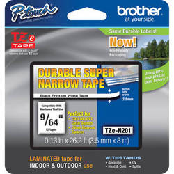 """Brother TZeN201 Non-Laminated Super Narrow Tape for P-Touch Labelers (Black on White, 0.13"""" x 26.2')"""