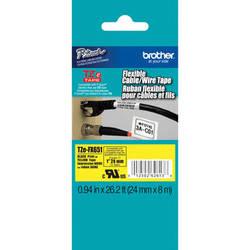 "Brother TZeFX651 Flexible ID Tape (Black on Yellow, 0.94"" x 26.2')"