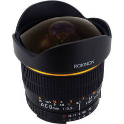Rokinon 8mm Ultra Wide Angle f/3.5 Fisheye Lens for Nikon w/Focus Confirm Chip