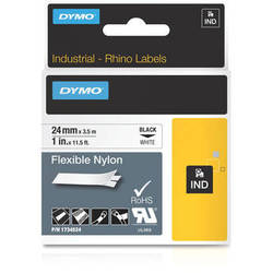 "Dymo Rhino 1.0"" White Flexible Nylon Tape"
