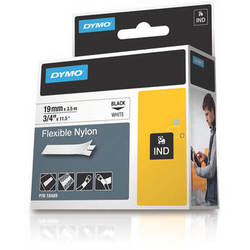 "Dymo Rhino 3/4"" White Flexible Nylon Tape"