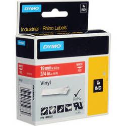 "Dymo Rhino 3/4"" Red Vinyl Labels (White Print)"