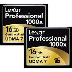 Lexar 16GB CompactFlash Memory Card Professional 1000x - 2-Pack