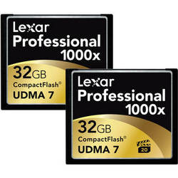 Lexar 32GB CompactFlash Memory Card Professional 1000x - 2-Pack