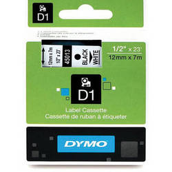 "Dymo Standard D1 Labels (Black Print, White Tape - 1/2"" x 23')"