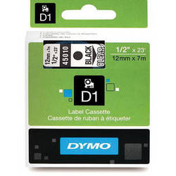 "Dymo Standard D1 Labels (Black Print, Clear Tape - 1/2"" x 23')"