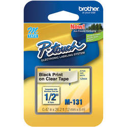 """Brother 0.47"""" Black on Clear """"M"""" Labeling Tape (26.2', One Roll)"""