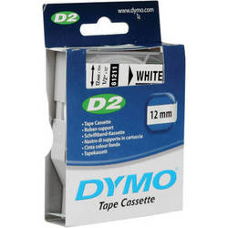 "Dymo Polyester D2 Tape (Black Print, White Tape - 1/2"" x 32')"