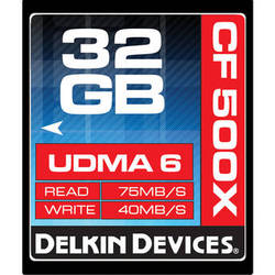 Delkin Devices 32GB CompactFlash Memory Card 500x UDMA