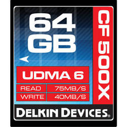 Delkin Devices 64GB CompactFlash Memory Card 500x UDMA