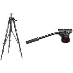 Manfrotto 475B Professional Tripod Legs (Black) & 502HD Pro Video Head with Flat Base