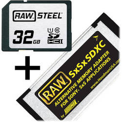 Hoodman 32GB SDHC Memory Card RAW STEEL Class 10 UHS-I and SxSxSDXC Adapter Kit