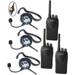 Eartec 3-User SC-1000 Two-Way Radio System with Fusion Inline PTT Headsets