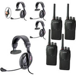 Eartec 4-User SC-1000 Two-Way Radio with Proline Single Inline PTT Headsets
