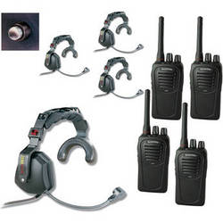 Eartec 4-User SC-1000 2-Way Radio with Ultra Single Shell Mount PTT Headsets