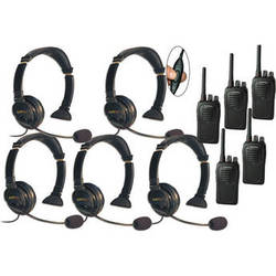 Eartec Five-User SC-1000 Two-Way Radio System with Lazer Inline PTT Headsets