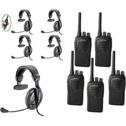 Eartec 5-User SC-1000 Two-Way Radio with Proline Single Inline PTT Headsets
