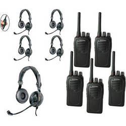 Eartec 5-User SC-1000 Two-Way Radio with Slimline Double Inline PTT Headsets