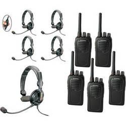 Eartec 5-User SC-1000 Two-Way Radio with Slimline Single Inline PTT Headsets