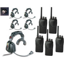 Eartec 5-User SC-1000 2-Way Radio with Ultra Single Shell Mount PTT Headsets