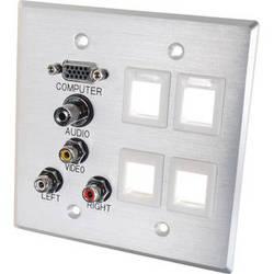 C2G Double Gang HD15 VGA, 3.5mm, A/V, Aluminum Keystone Wall Plate (White)