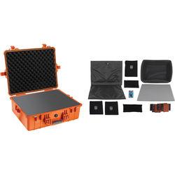 Pelican 1600 Case with Foam and Black Divider Set Orange