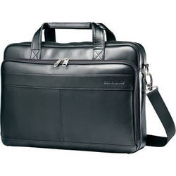 "Samsonite Leather Slim Brief with 15.6"" Laptop Pocket (Black)"